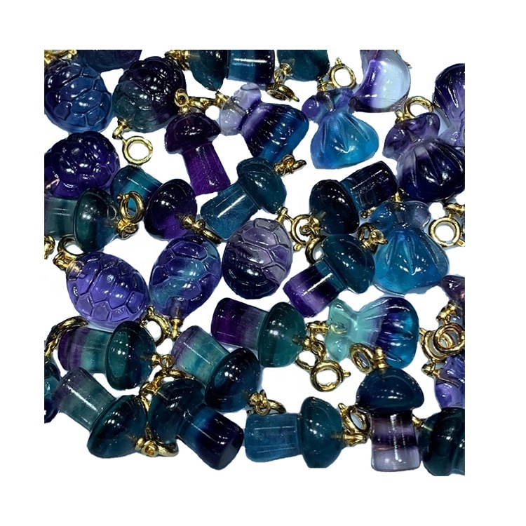 Fluorite carved shell shape gem pendant/Gold plated pendant/Fluorite pendant