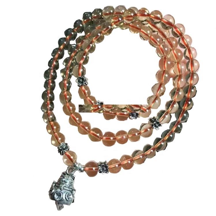 Fashion Sterling Silver Gemstone Citrine round beads Necklace