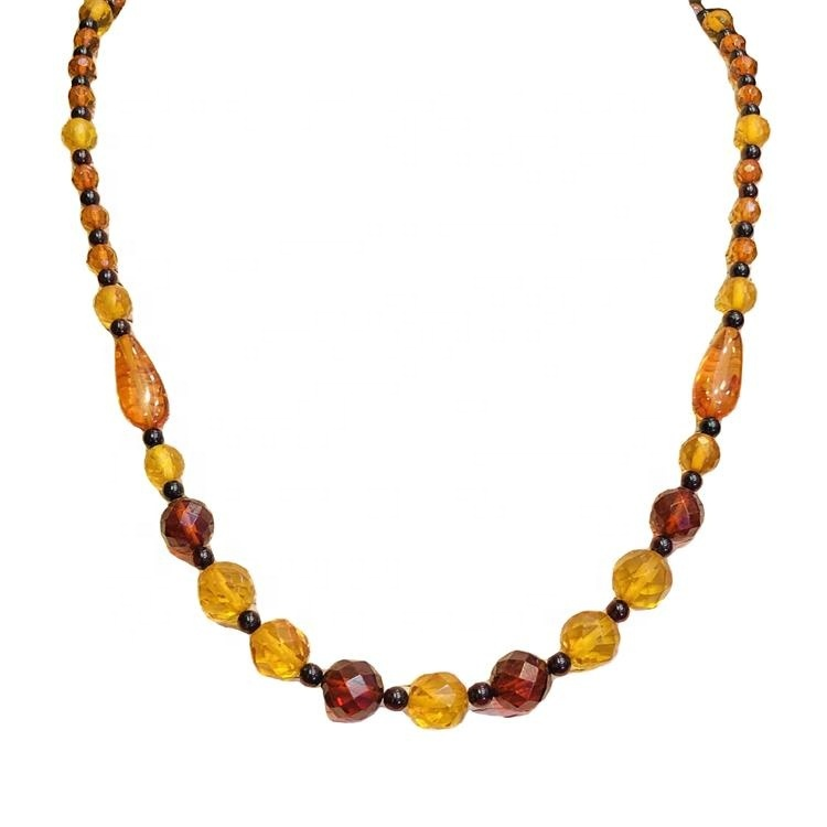 Latest popular jewelry natural amber beaded necklace