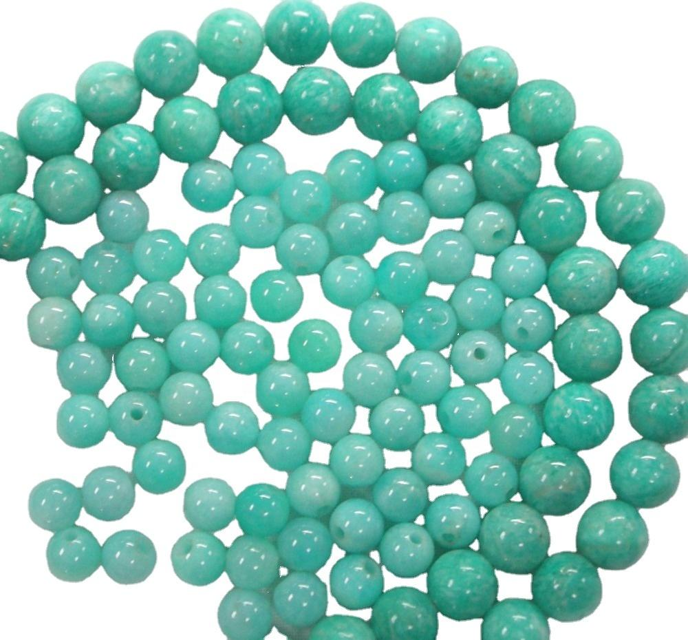 Wholesale Round Blue Amazonite Gemstone Loose Beads Genuine Natural Gemstone