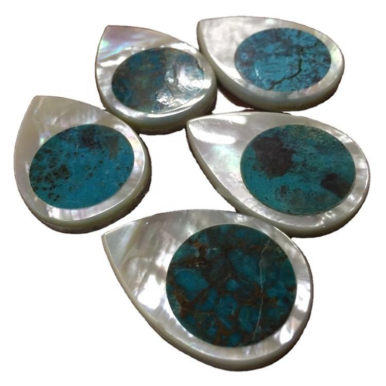 Turquoise MOP Shell Mosaic Cabochons Abalone Mosaic MOP Pear pendant bead gemstone