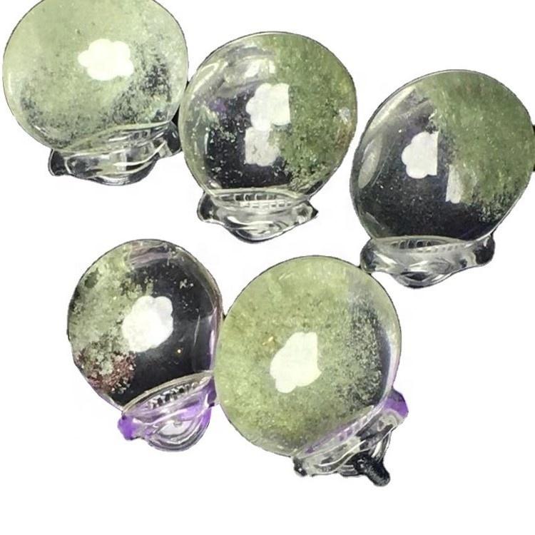 Wholesale oval shape green phantom quartz cabochon pendent loose gemstone