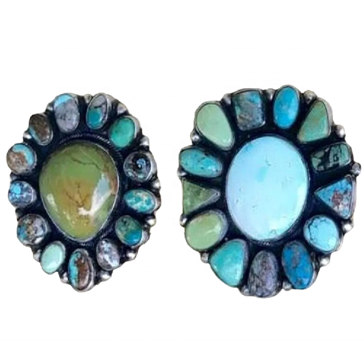 Natural Turquoise Stone Earrings Fashion Simple Earring Solid 925 Sterling Silver Turquoise Earrings