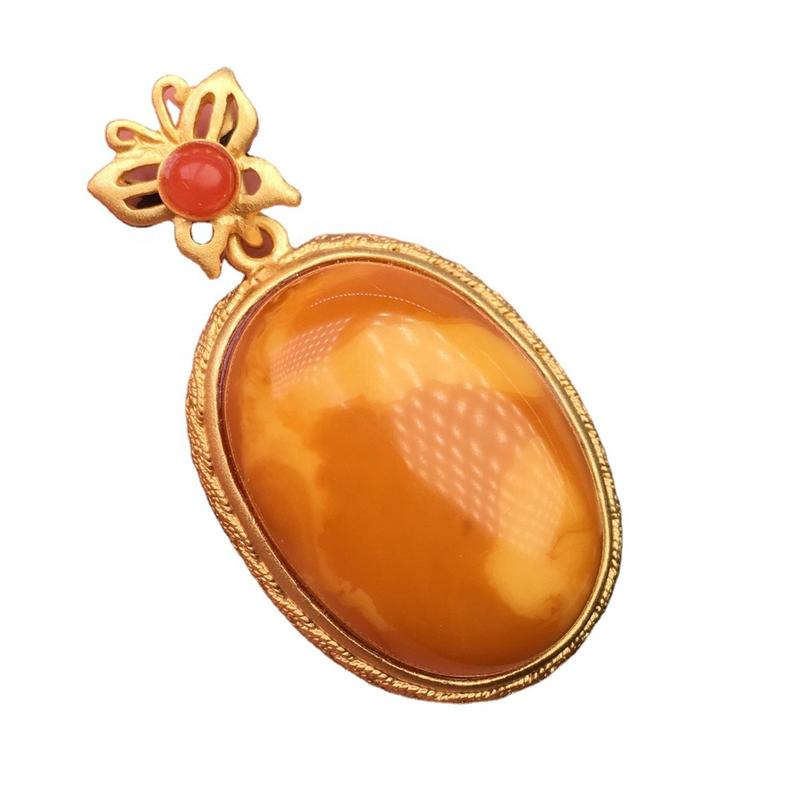 Oval amber pendant /Gold plated ruby pendant