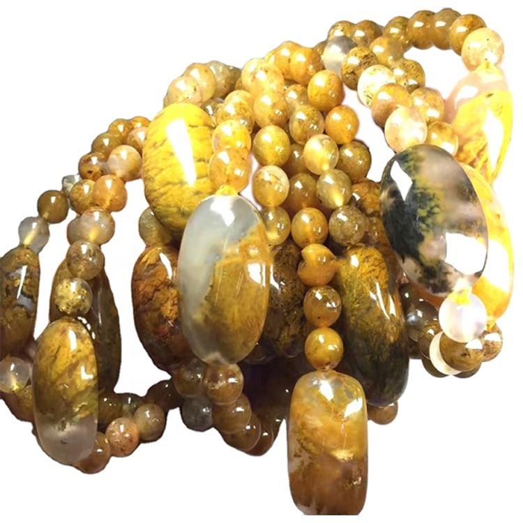 Shiny polish landscape really agate beads/Mens womens bracelet manufacture