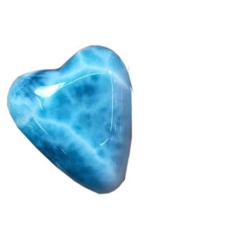 Top Quality Natural Heart Shape Larimar Gemstone Loose Semi Precious Cabochon Dominican Republic Gems