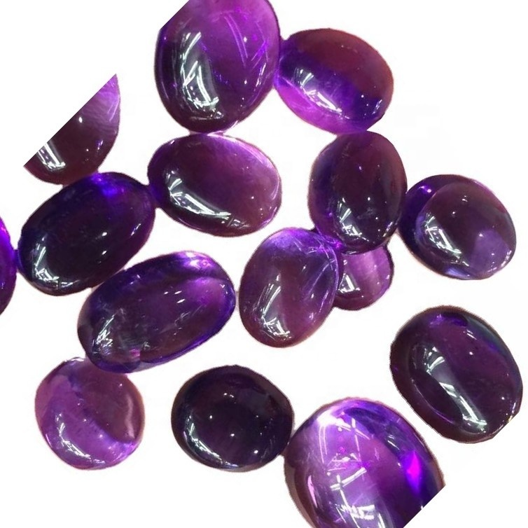 Romantic purple love oval shaped natural crystal amethyst cabochon