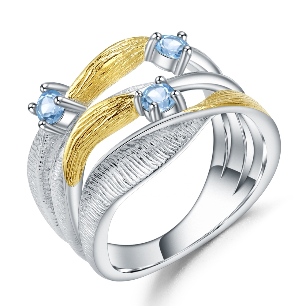 Blue spinel silver rings