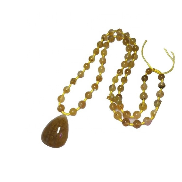 Real yellow grass beads Agate pendant Necklace jewellery