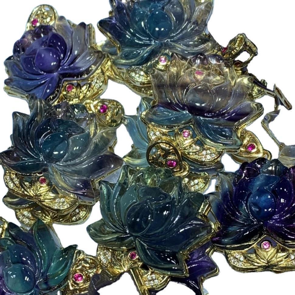 Lotus Flower Pendant Necklace Fluorite Lotus Crystal Carving Crystal Pendant for DIY