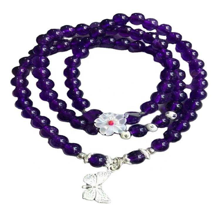 Amethyst Necklace/February Birthstone Jewelry/silver Amethyst Gemstone Bracelet