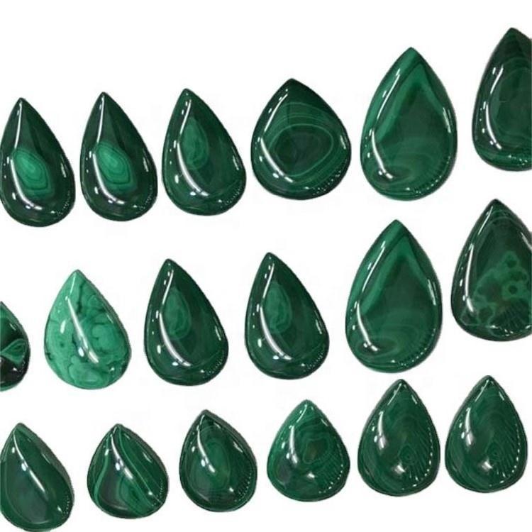 Magic cabochon green peacock malachite stone Natural Malachite Pear Cabochon Flat back Stone for Jewelry