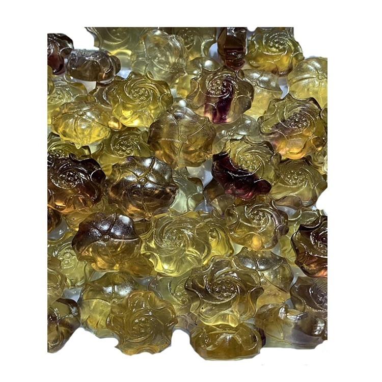 Fluorite carved gold rose gem pandent