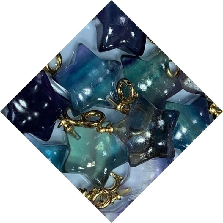 Fluorite carved star shape gem pendant/Gold plated pendant/Fluorite pendant