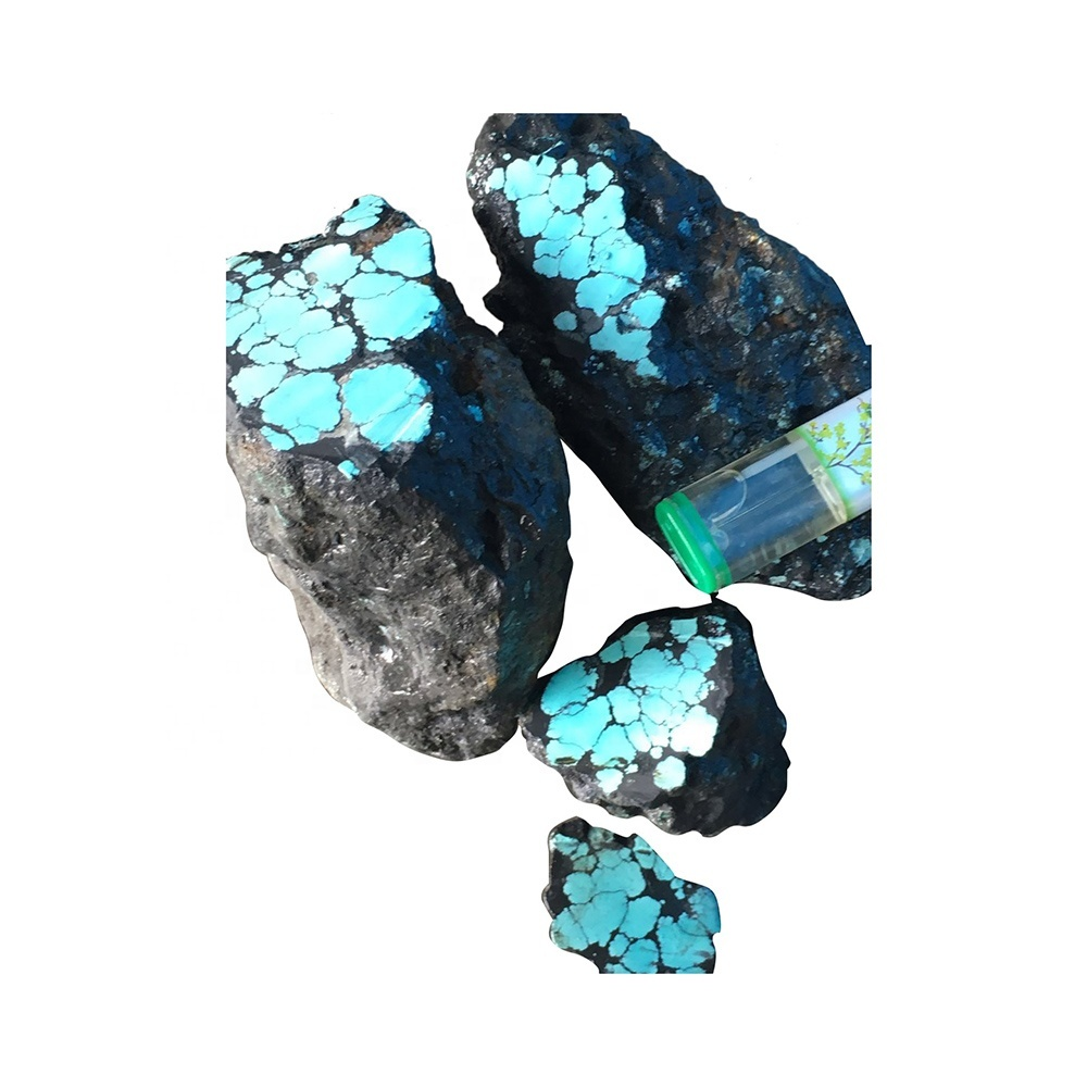 bulk wholesale tibetan natural raw turquoise rough diamond rock stones spiderweb top blue turquoise material rough