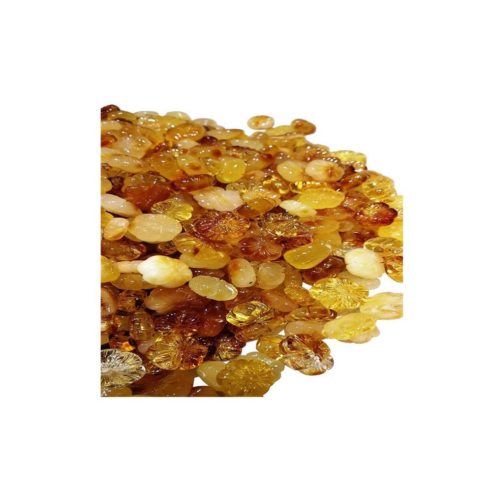 Natural Amber beeswax Plum blossom shape hand carving  for making jewelry