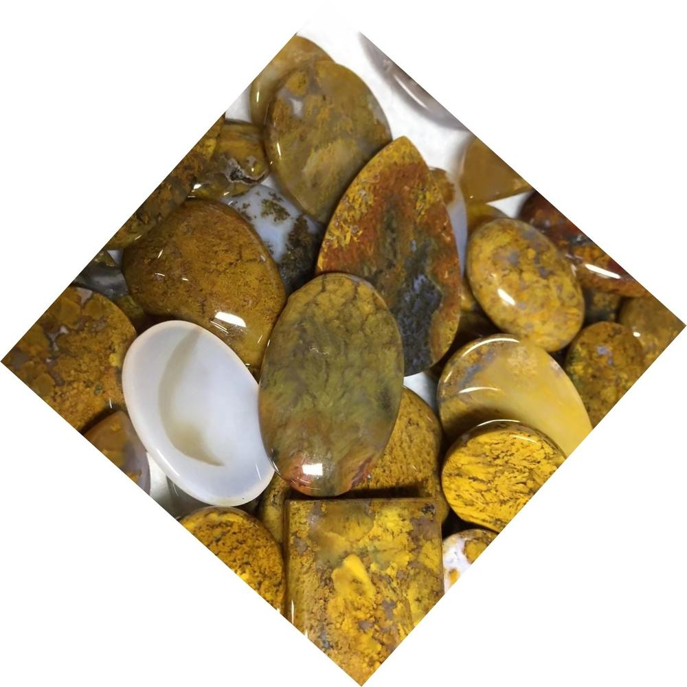 Yellow Moss Agate Cabochon Moss Agate Stone Natural Gemstone Cabochon Oval Agate