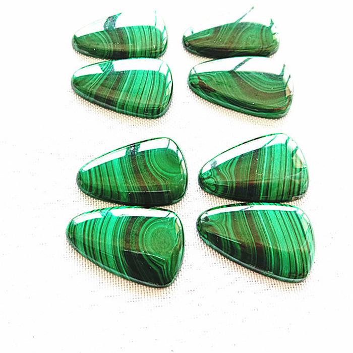 Natural malachite pair Triangle smooth polishing cabochon make Wholesale loose gemstone