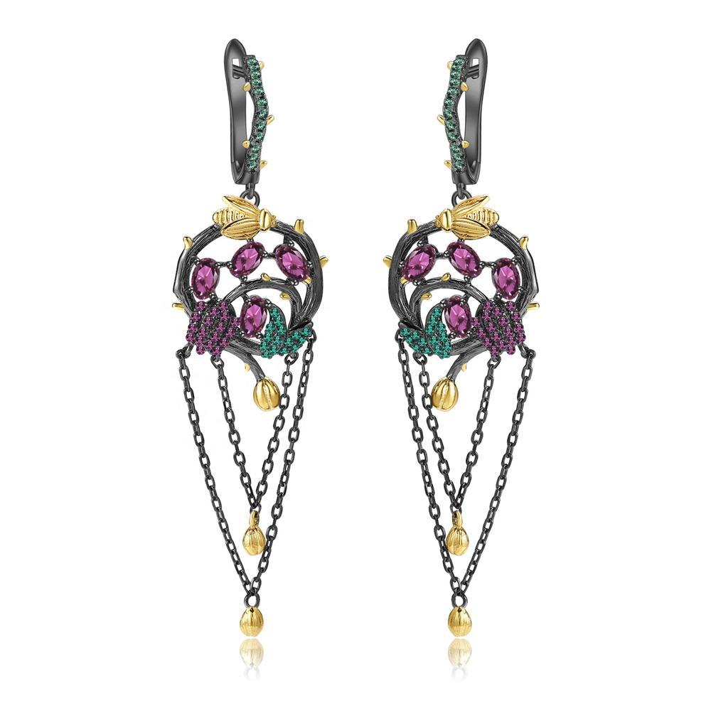 Rose red ruby earrings/Gold-plated emerald earrings