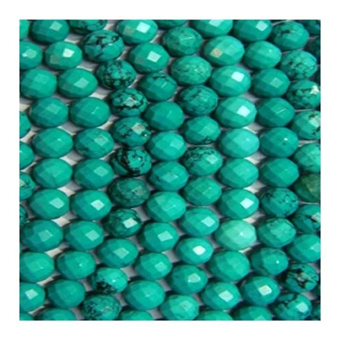 polished turquoise gemstone Turquoise Round Faceted Beads
