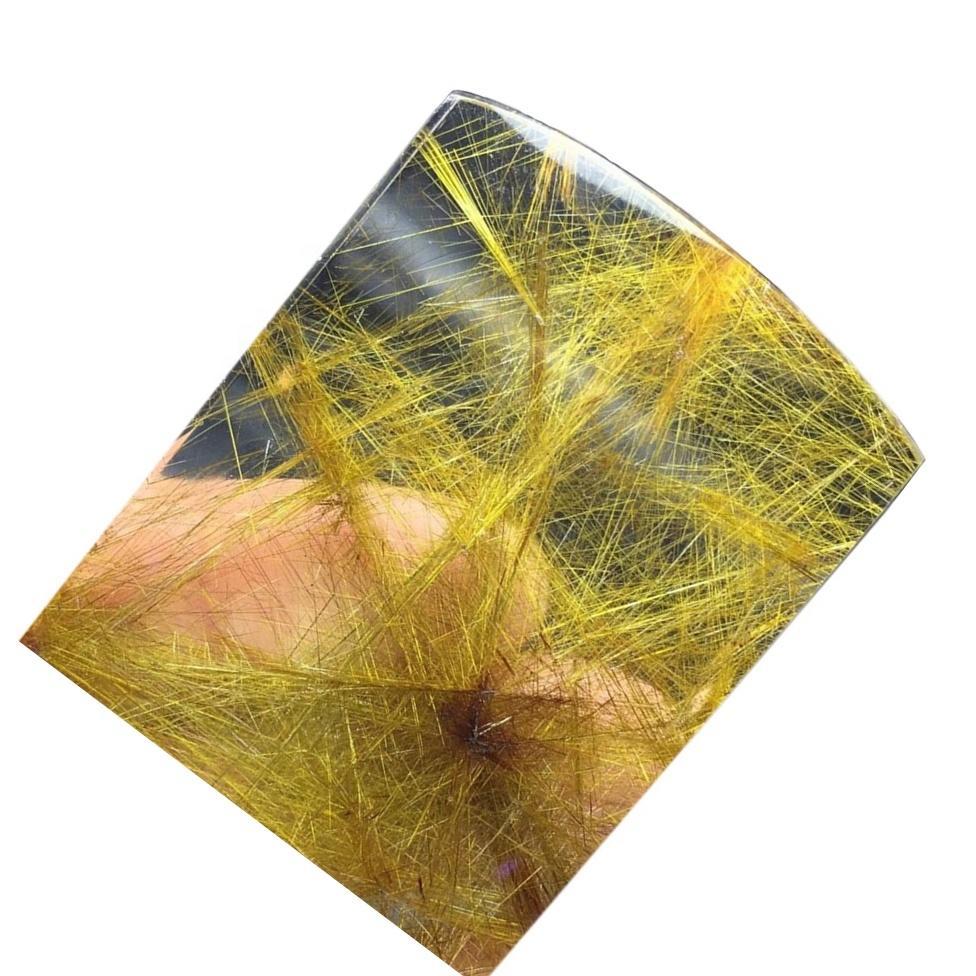 Natural Yellow Rutilated Quartz Loose Gemstone Amazing Natural Yellow Rutilated Quartz Cabochon