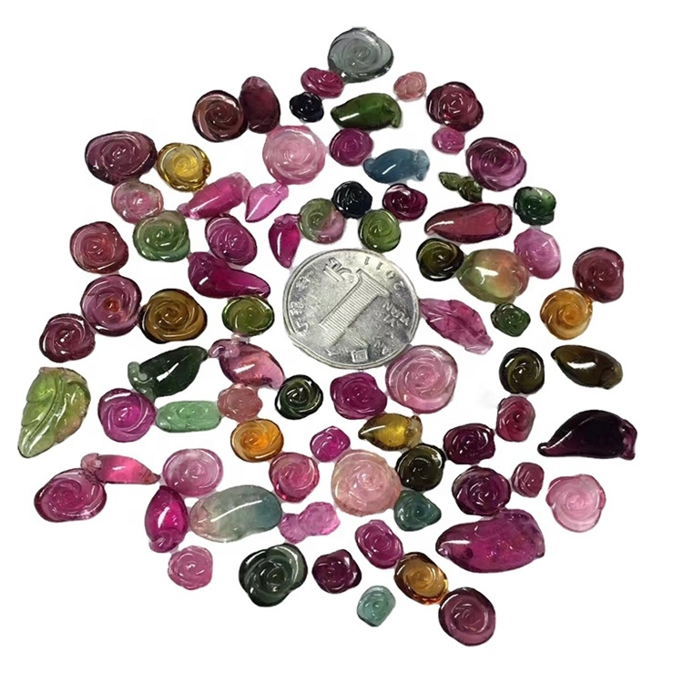 Mix tourmaline loose natural gemstone carved animals beads