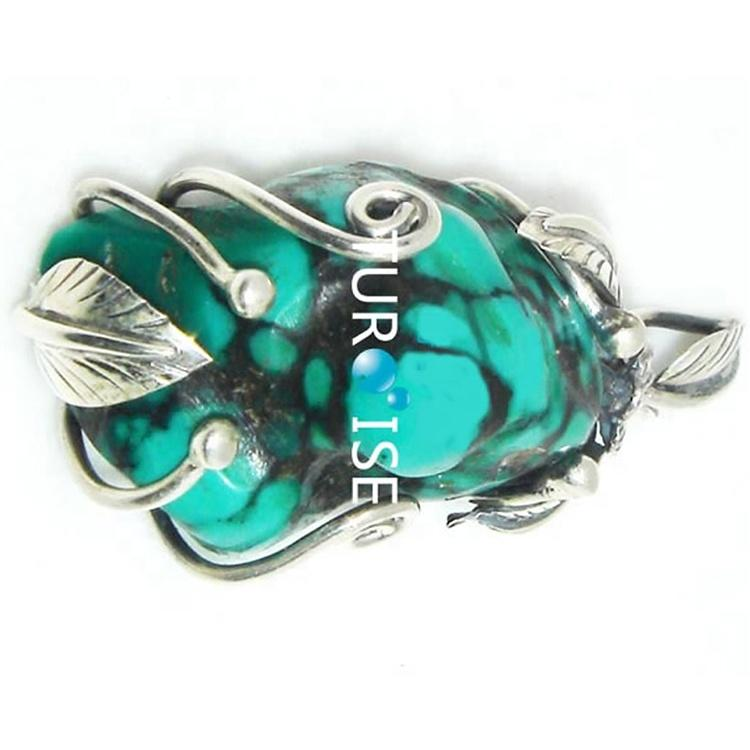Turquoise Pendant Turquoise Howlite Silver Plated pendant