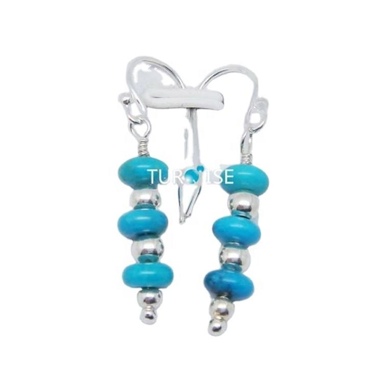 Turquoise Earring Sterling Solid Silver Earring Mohave Turquoise Blue Stone Earring