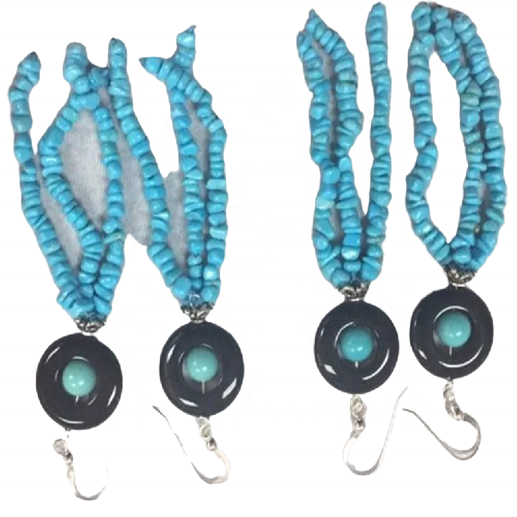 Natural Turquoise Fashion Earrings Solid 925 Sterling Silver Turquoise Earrings