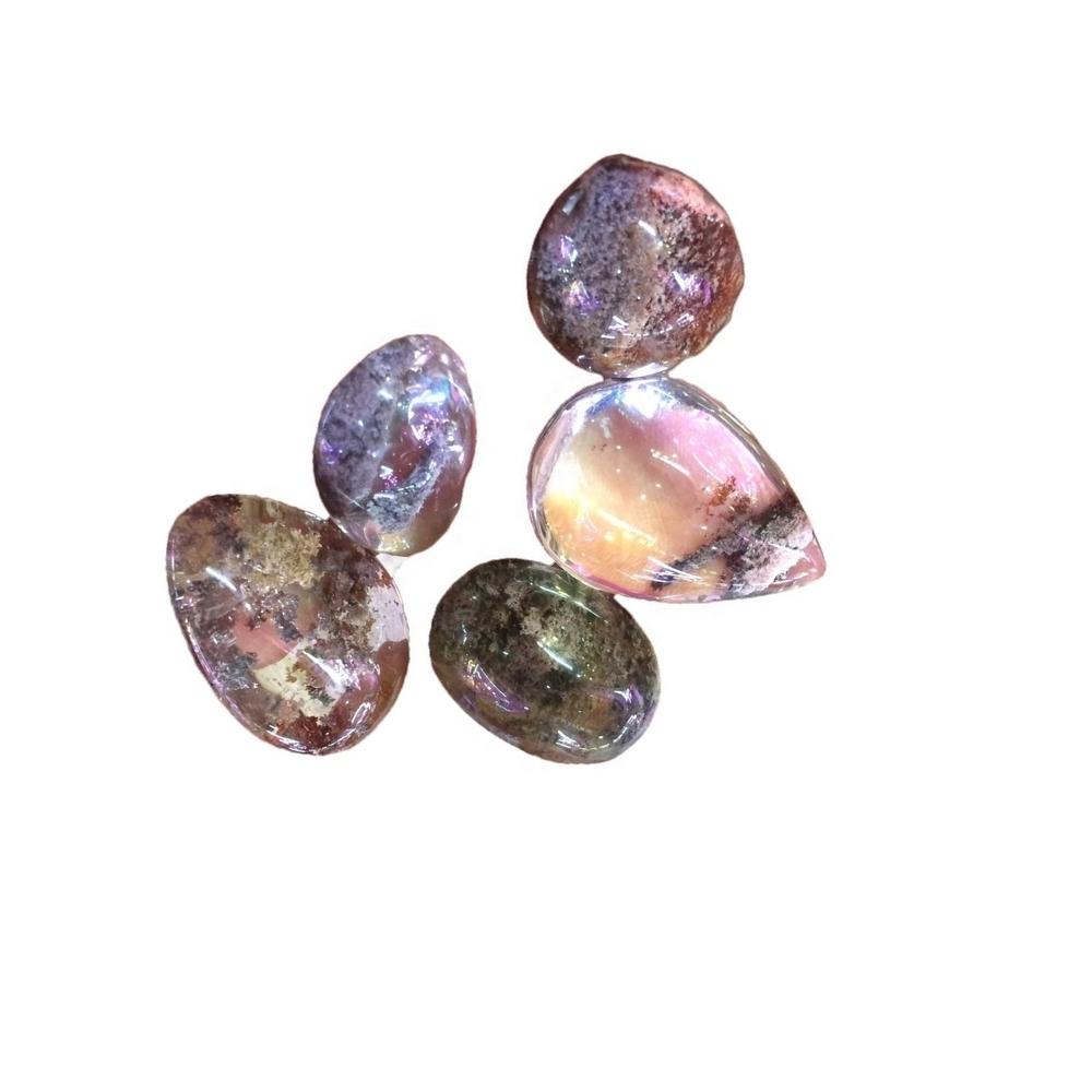 Natural Lodolite Garden Quartz cabocho loose gems stone phantom Quartz pear shape