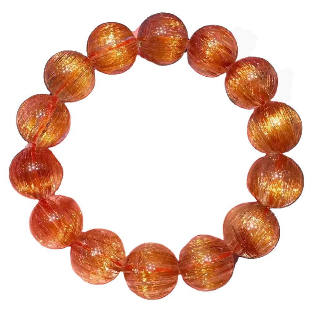 15.5mm naturally gemstone round beads copper rutilated bracelets