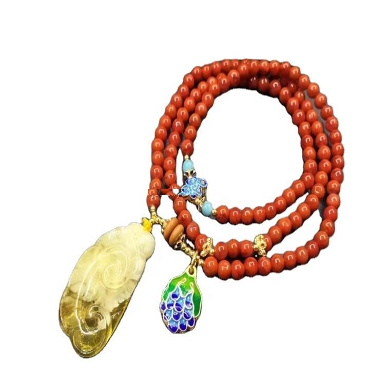 agate round beads + Amber pendant necklace jewelry