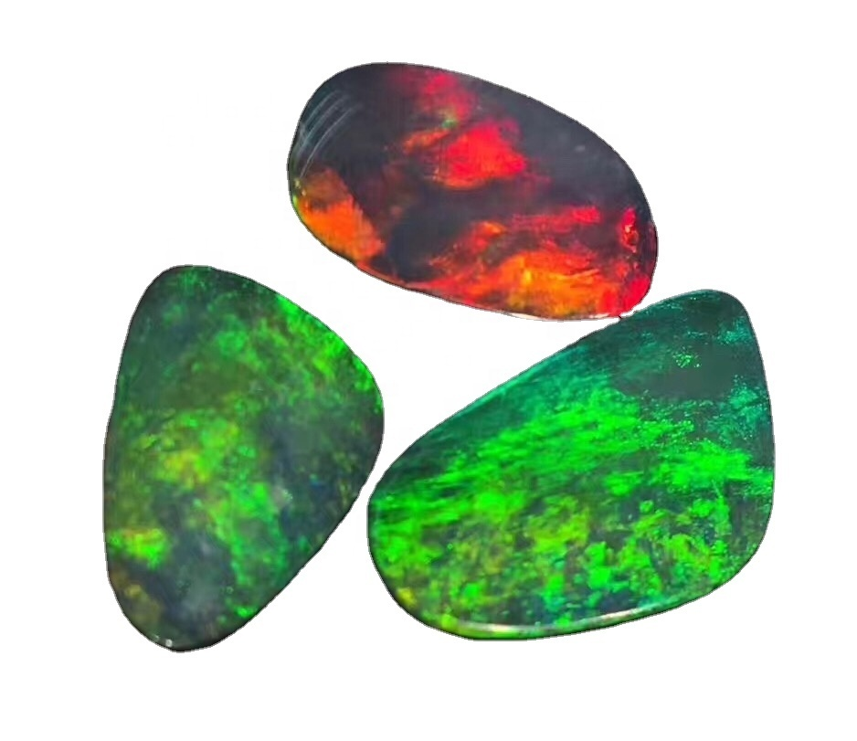 Quality Natural White Ethiopian Opal Cabochon With Multi Fire Loose Gemstone