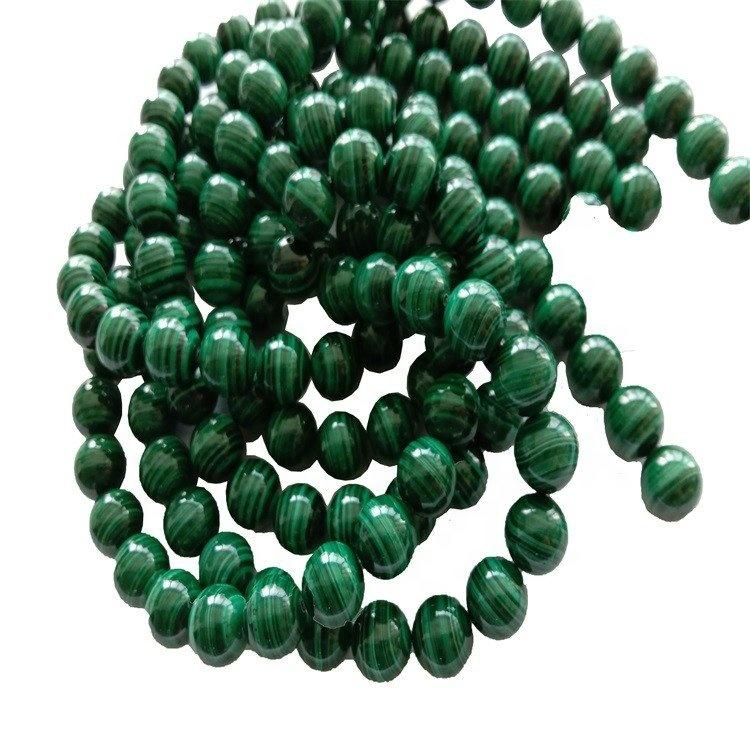 Natural Green Malachite Highly Polished Round Beads Energy Gemstone Loose Beads For Jewelry Making