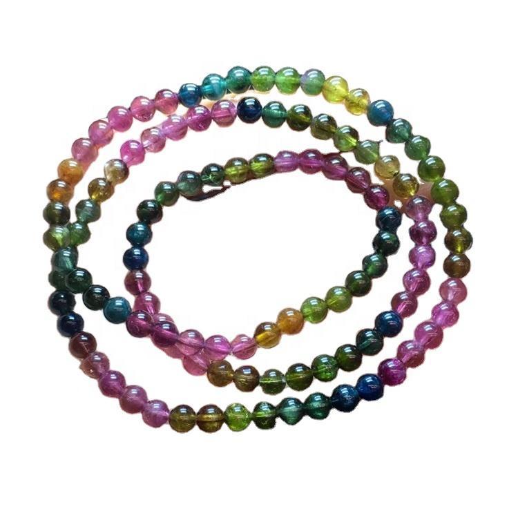 Natural Color Tourmaline Hairstone Gemstones Healing Crystal Stretch Tourmaline Crystal Beaded Bracelet
