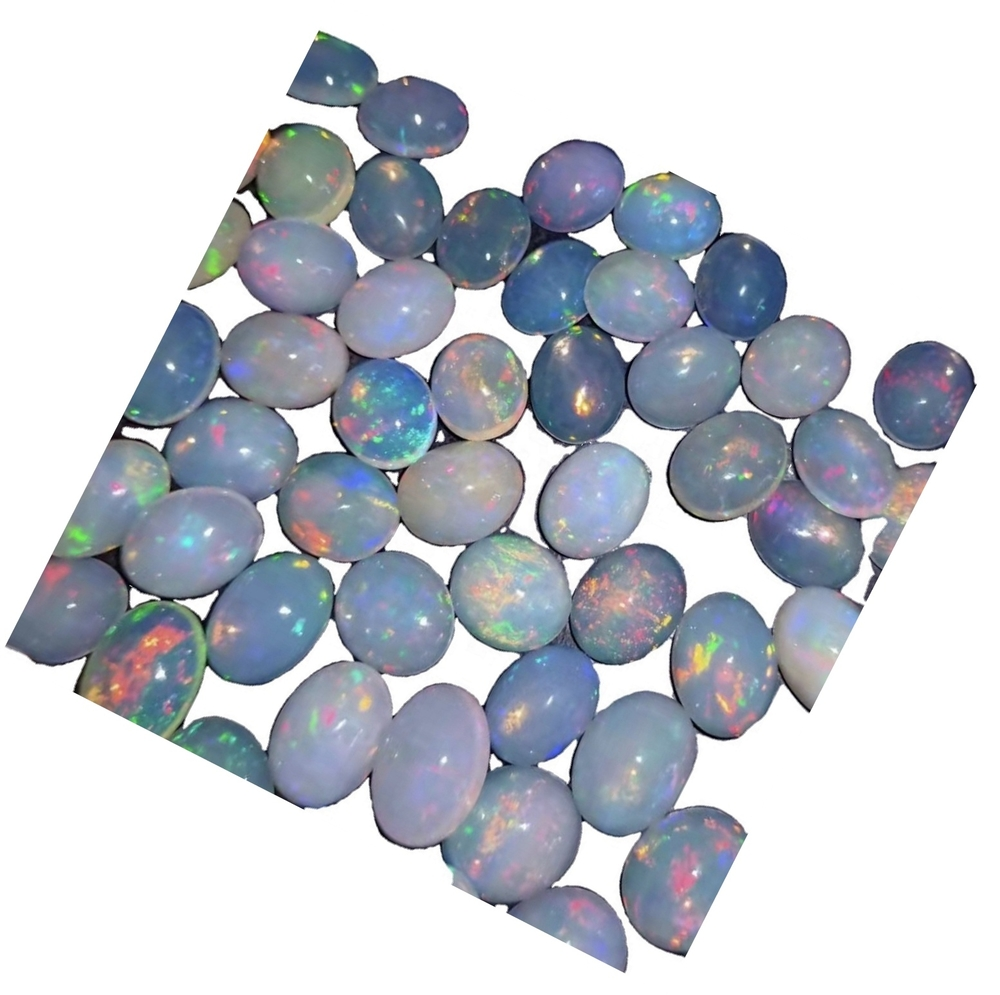 Round flat cabochon NATURAL OPAL white blue pink green naked opal gemstone  high quality