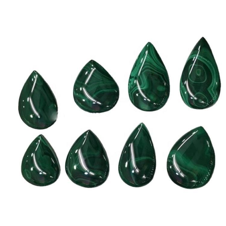 3A Quality Natural Malachite Gemstone Pear Shape Malachite Cabochon Malachite Loose Gemstone For Making Jewelry