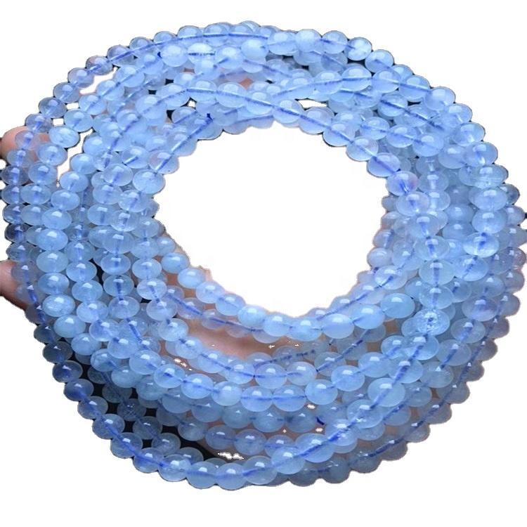 bule color Milky Aquamarine beads handmade Gemstone and strings