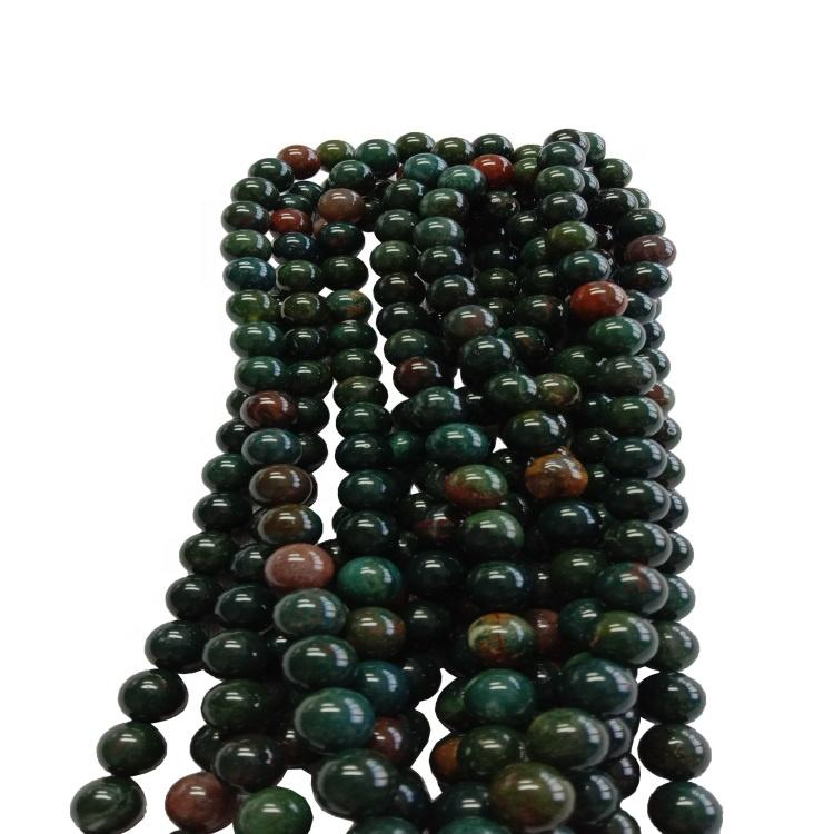 Hot-sale Natural Bloodstone  round Beads green Gemstone popular Beads Loose  jewelry