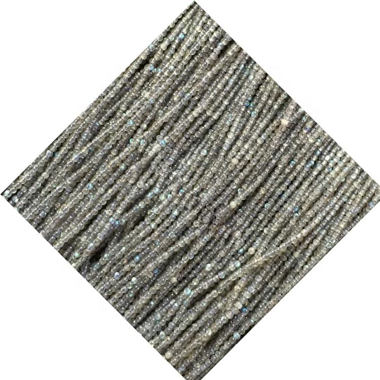 2.25mm natural round faceted labradorite beads