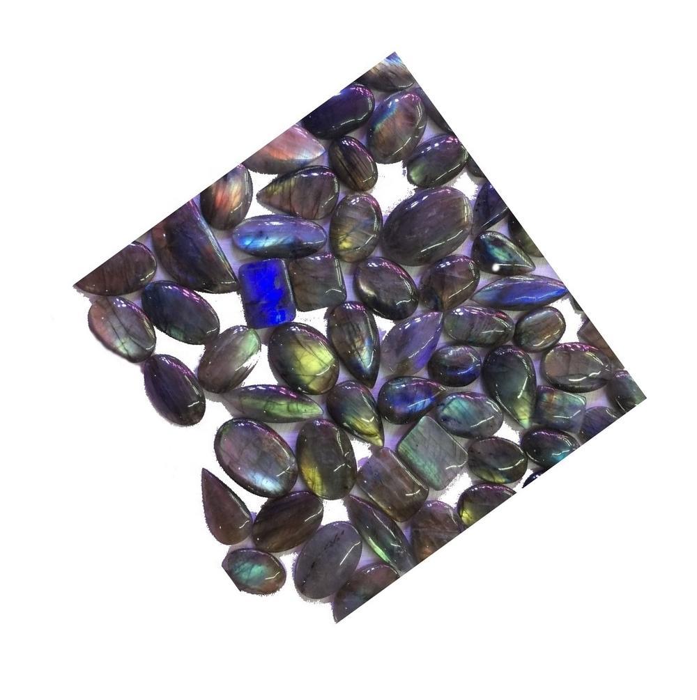 Labradorite cabochon with blue flashy top grade stones