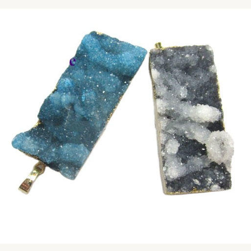 dyed different color/size/shape crystal druzy electroplate gemstone pendant