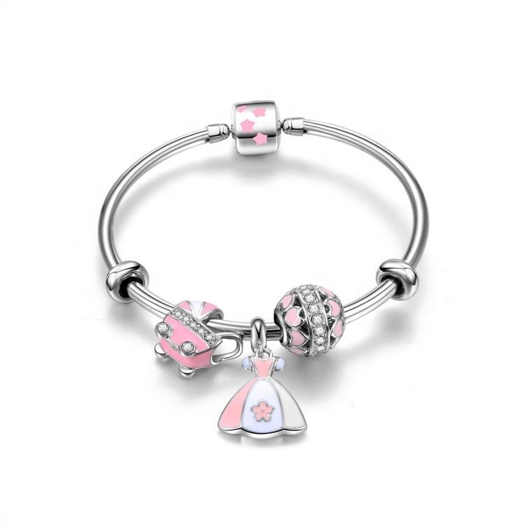 2021 famous brand 925 silver charms pendant bracelet
