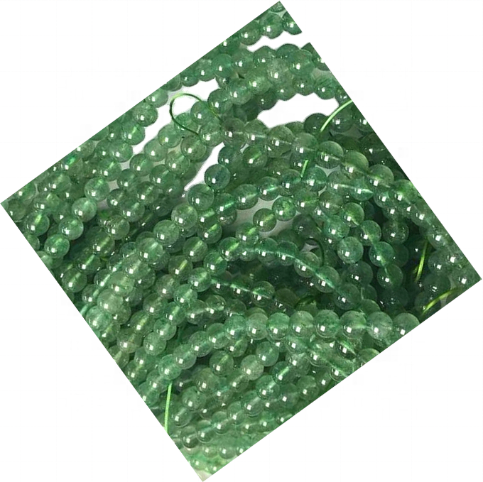 Natural Green Strawberry Quartz Bracelet Round Beads Energy Gemstone Bracelet for Jewelry Making
