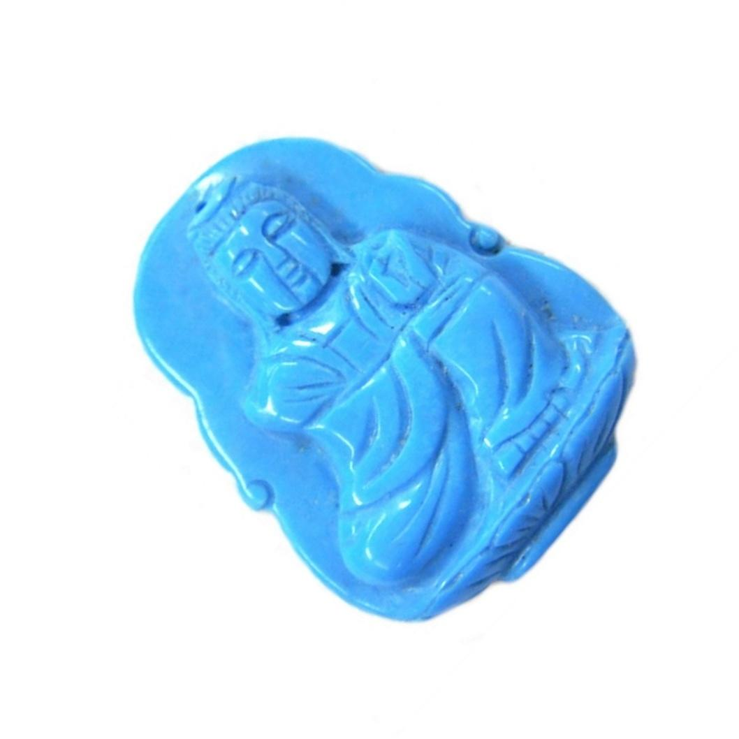 USA Certified Grade A  Turquoise Jadeite Jade Kwan yin GuanYin carved beads gemstone for pendant jewelry