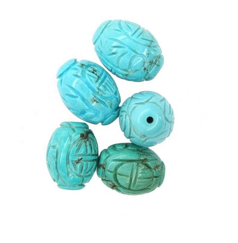 natural rarely turquoise beads carved molon gemstone for design jewellery making