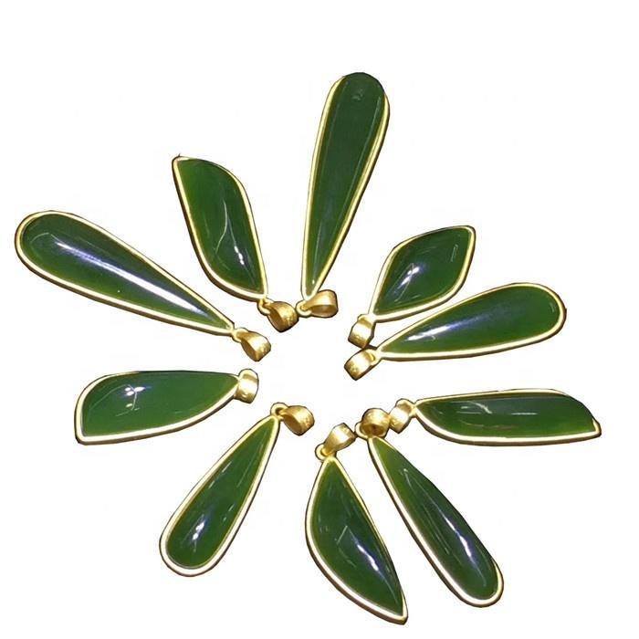 Unique Natural Green Jadeite Pendant Cabochon  Gemstone making jewelry