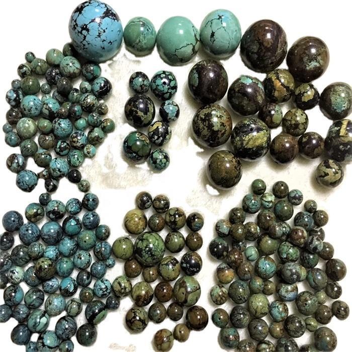 Turquoise round beads Natural Blue Turquoise beads polishing unisex jewelry