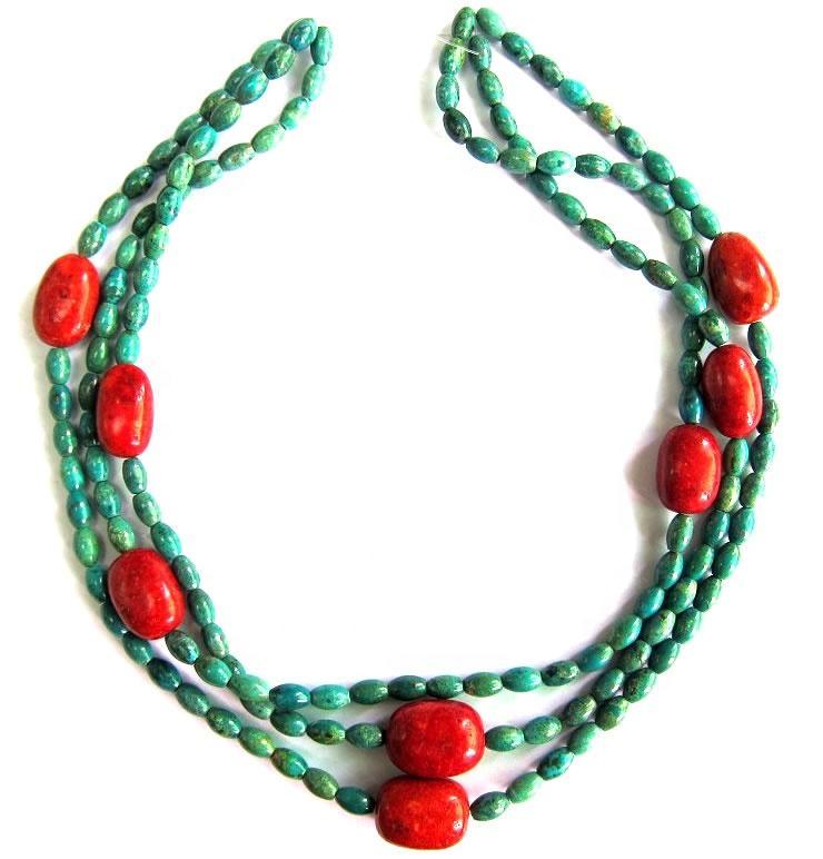 Turquoise beads  necklace wholesale Turquoise Plain Beads Turquoise Rondelle Necklace
