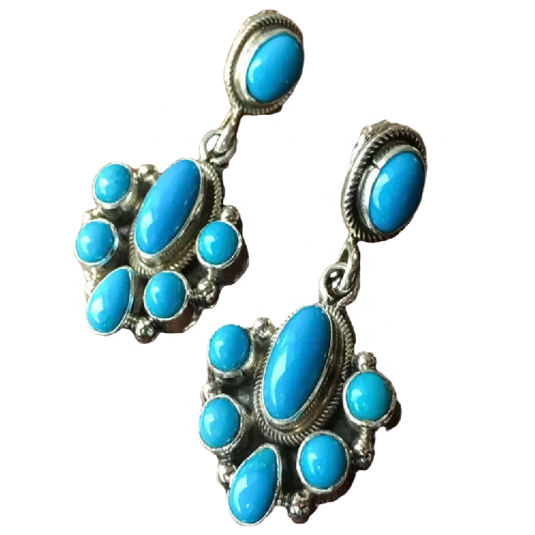 Lovely Turquoise Earrings Sterling Silver Boho Gemstone Earrings